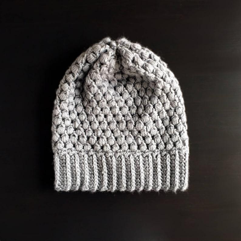 d43e0b12b8e Puff Stitch Crochet Slouchy Beanie Grey Women s Handmade