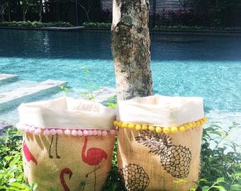 Tropical Small Pompom Fabric Basket