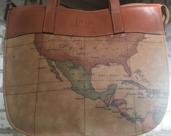 Vintage Italian Alviero Martini Geo 1a Classe World Map Shoulder Bag