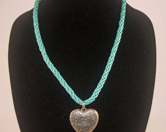 Necklace Teal Ribbon with Silver Tone Heart 22""