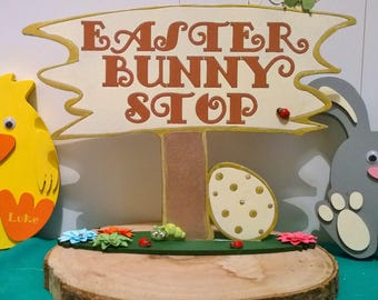 Easter bunny stop sign