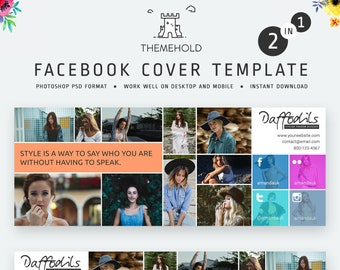 Facebook Cover Template for Photographers - Photography Facebook Timeline, Facebook Header Template - Layered .PSD File - INSTANT DOWNLOAD