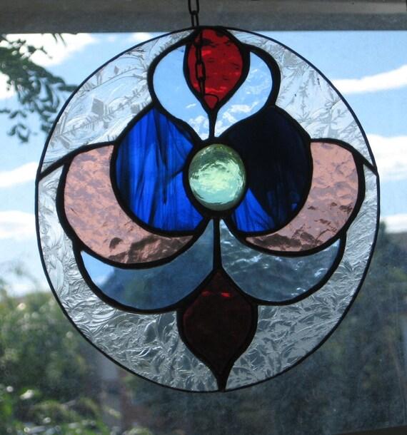 Suncatcher Fleur-de-Lis Suncatcher Glass Fleur de Lis French Symbol Fleur-de-Lys Stained Glass Window Glass suncatcher Fleur de Lis