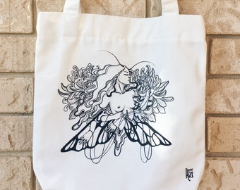 Canvas Zip Tote Bag - Moth Wings Flower - Limited Edition