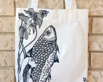 Canvas Zip Tote Bag - Mermaid Giant Fish - Limited Edition