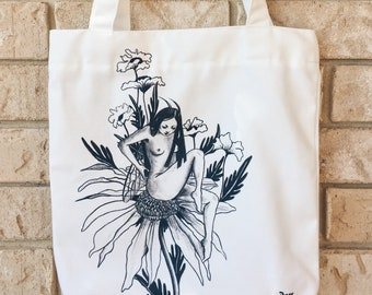 Canvas Zip Tote Bag - Insect Daisy Flower - Limited Edition
