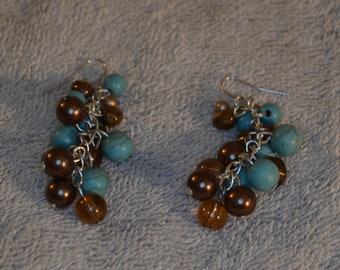 Vintage Turquoise and Glass  Cluster Earrings