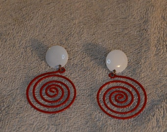 White and  Red Swirls Earrings