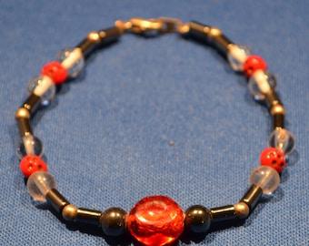 Handmade beaded bracelet, Red and Gray beaded Bracelet / Free Shipping