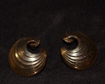 Vintage Semicircle Gold Earrings