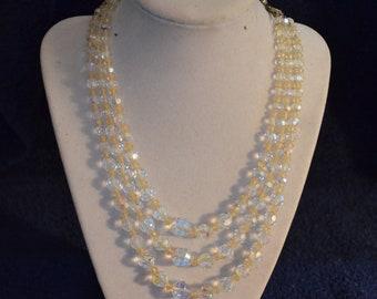 Vintage Three Strands  Glass Multi Strand Necklace, Wedding Necklace