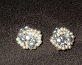 Vintage Cluster Clip On Earrings Boho Earrings, Retro Earrings / Free Shipping