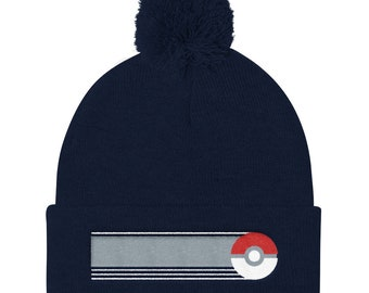 Pokeball Pokemon inspired Pom Pom Knit Cap  8a9516738536