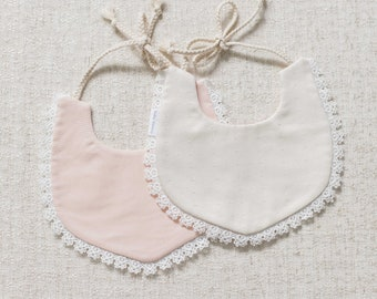 Cream Lace Dribble Bib for Girls with Ribbon,100/% Cotton