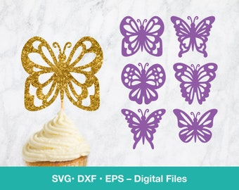 6 Lace Butterfly SVG Cupcake topper; Garden party wall decor; first birthday girl; svg files for Cricut, Silhouette, Glowforge, laser cut