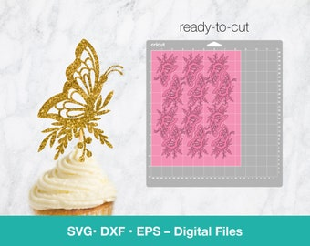 Butterfly SVG Cupcake Topper; Card template for Mothers Day; birthday girl digital; svg files for Cricut, Silhouette, Glowforge, laser cut