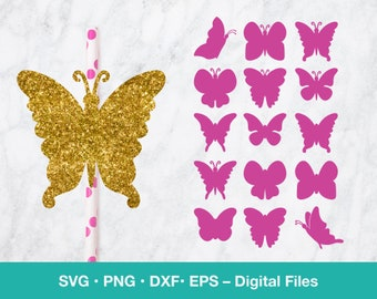 15 Butterfly SVG Silhouette bundle; Garden party decor, Mom card template; first birthday girl; svg files for Cricut, Glowforge, laser cut