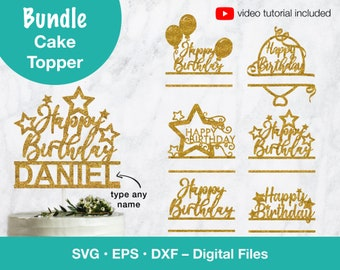 Cake Topper Bundle, Happy Birthday SVG with Personalize name file for party decor; svg files for Cricut, Silhouette, Glowforge, laser cut