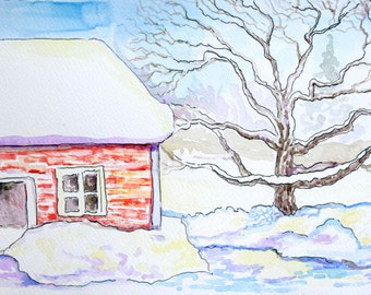 Winter Tree House Painting Original Soft Pastels Landscape Artwork 6x9 by Sofi Shafto Art