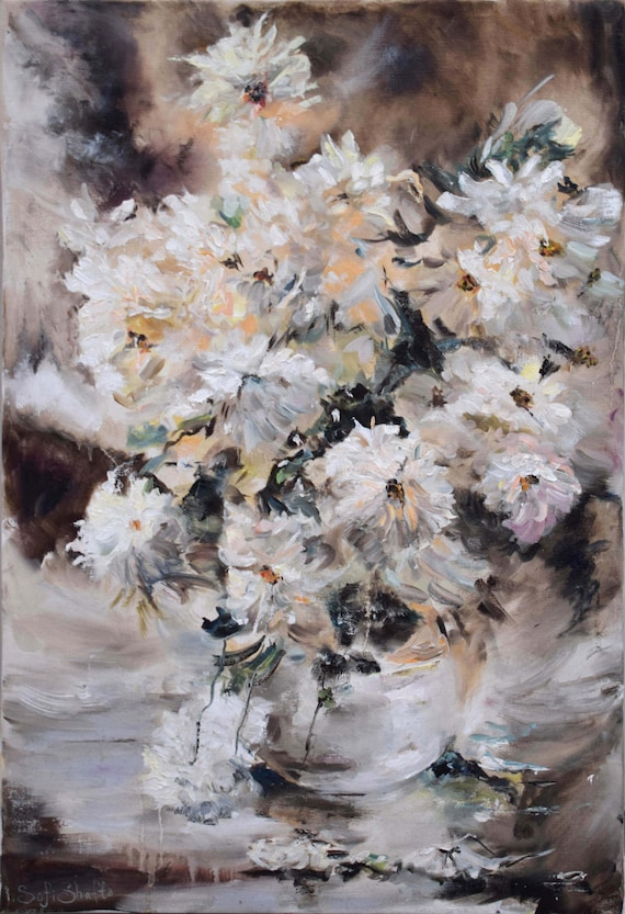 Still Life Flowers Oil Painting White Flowers Art For Sale Etsy