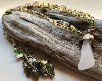 Beach Glass Necklace - Beaded Necklace with White Sea Glass Pendant - Multi Strand necklace - Handmade by Lake Michigan Makings