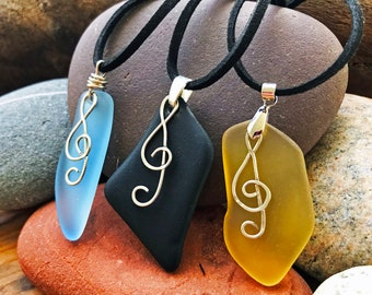 Beach Glass Necklaces - Music Note Charm - Blue Sea Glass Pendant - Black Sea Glass Pendant -Yellow Sea Glass Pendant - Handmade Wire Warped