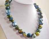 Blue Carnival, Paper bead necklace,  made with love