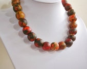 "Paper bead necklace, ""Red Darkness"", made with love"