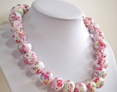Pink butterflies, Paper bead necklace, made with love