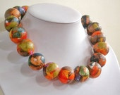 "Free postage within Australia, Paper bead necklace, ""Orange Cat"", made with love"