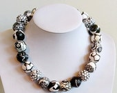 "Featherlight paper bead necklace, ""Black and White"", made with love, flat rate postage within Australia"