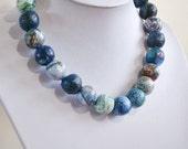 """Paper bead necklace, """"Blues"""", made with love"""