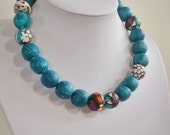 "Paper bead necklace, ""Blue Sea"", made with love"