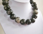 "Paper bead necklace, "" Gigantic Black with Grey"", made with love"