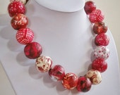 "Paper bead necklace, "" Red Season"", made with love"