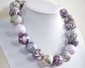 "Paper bead necklace, ""Violet"", made with love"
