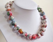 Crochet, Paper bead necklace,  made with love