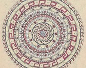 "Mandala Greeting Card, drawn with love, ""Passing time"""