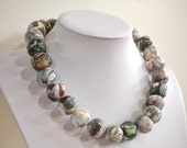 "Featherlight paper bead necklace, "" Not just grey"", made with love, flat rate postage within Australia"