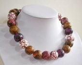 "Paper bead necklace, ""Purple Velvet"", made with love"
