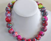 "Free postage within Australia, Paper bead necklace, ""Red Christmas"", made with love"