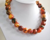 Autumn, Paper bead necklace,  made with love