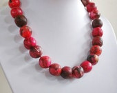 "Paper bead necklace, ""Rose garden"", made with love"