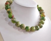 "Paper bead necklace, ""Green Nature"", made with love"