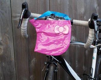 Eco friendly/Pink Bike Bag Kids/Bike Bag Waterproof/Handmade Bike Handlebar bag/Refashioned bike bag/Upcycled bike bag