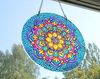 Suncatcher Stained Glass Mandala art Glass art Window Decoration Home decor Window hanging Meditation Mandala Yoga from recycled glass