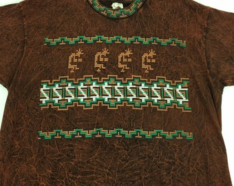 Vintage Native American Indian Art Kokopelli T Shirt XL Copper Brown Made  In USA 8704bcec0134
