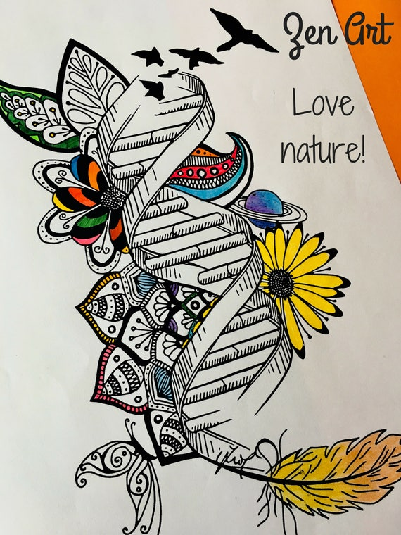 DNA Drawing Genetics Lovers Coloring Pages Instant