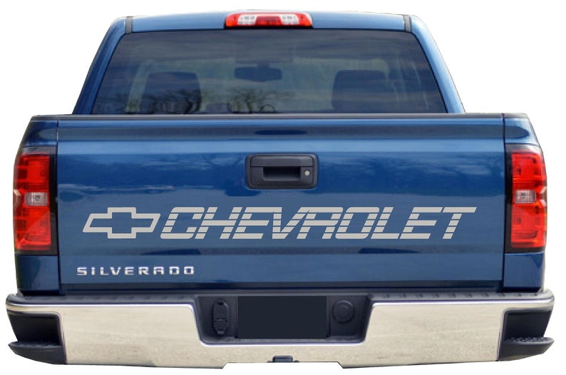 5014f7fa74 SILVER CHEVROLET Bed Decal Chevy Trucks Tailgate Sticker