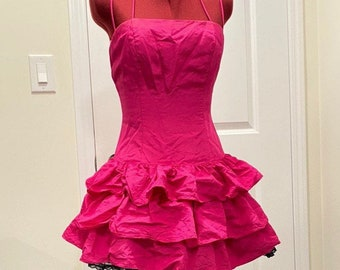Gorgeous one-of-a-kind vintage dress Beautiful pink-yellow-lime ombre colours with delicate straps and crystals along the bustline.